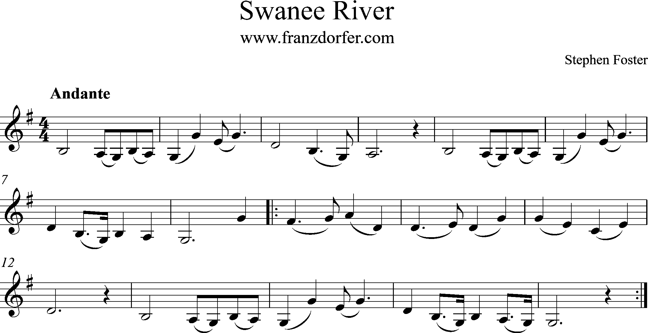 Clarinet sheet swanee river G-Major